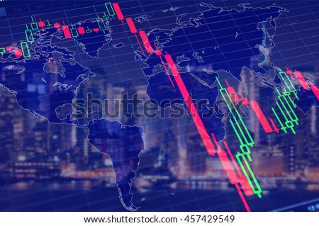 Economy crisis, global recession, stock market crash concept. Volatility declinihg graph at dark blue background.