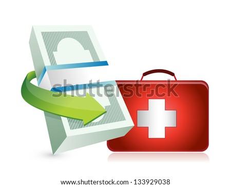 economy crisis protection kit illustration design over a white background