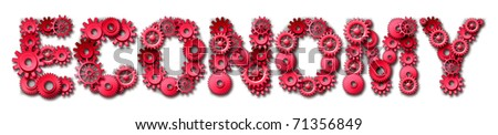 economy gears cogs red hot text industry industrial symbol