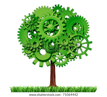 economy industry business growth green power gears cogs tree industrial environmental motion agriculture isolated