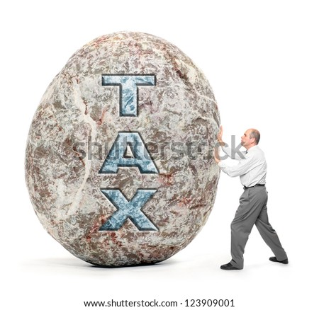 Economy metaphor. Man holding giant boulder - symbol of high taxes.