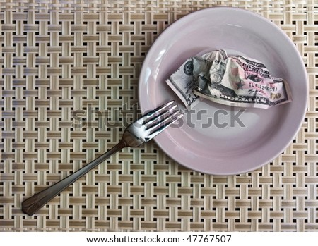 Economy of Hunger: the money in a plate and fork