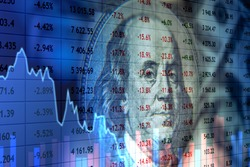 Economy of the United States. Quotes and graphs on the background of Franklin. Concept - Fall of the US economy. Crisis in America. Fall in the value of US government bonds. World economic crisis