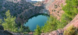 Ecosystem restoration. Reforestation in former open pit mine area, panoramic view