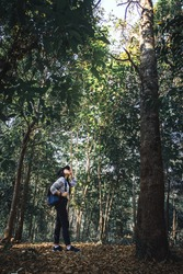 Ecotourism concept from woman trekking with backpack, enjoy beautiful nature in tropical forest.