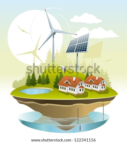 Ecovillage. Illustration of green energy for the house on a small plot of land.