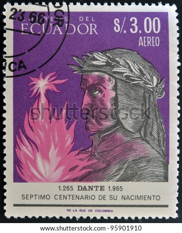 ECUADOR - CIRCA 1965: A stamp printed in Ecuador shows Dante, circa 1965