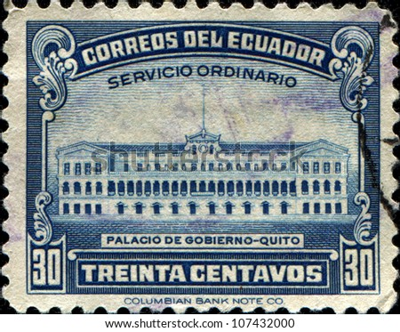 ECUADOR - CIRCA 1944: A stamp printed in  Ecuador shows Government Palace, Quito , circa 1944