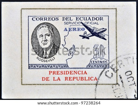 ECUADOR - CIRCA 1949: A stamp printed in Ecuador shows plane and President Roosevelt, circa 1949