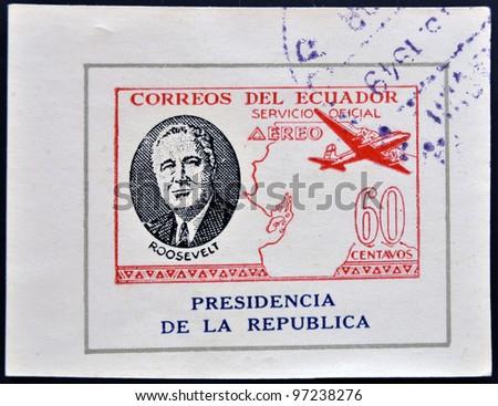 ECUADOR - CIRCA 1949: A stamp printed in Ecuador shows plane and President Roosevelt, circa 1949