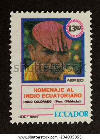ECUADOR - CIRCA 1980: Stamp printed in Ecuador shows a local, circa 1980