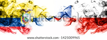 Ecuador, Ecuadorian, Chile, Chilean, competition thick colorful smoky flags. America football group stage qualifications match games
