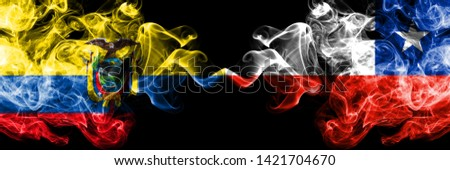 Ecuador, Ecuadorian, Chile, Chilean, flip, competition thick colorful smoky flags. America football group stage qualifications match games