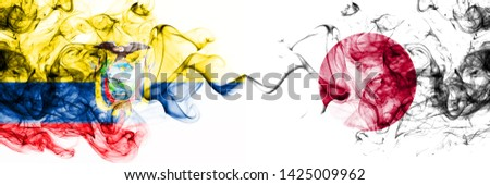 Ecuador, Ecuadorian, Japan, Japanese, competition thick colorful smoky flags. America football group stage qualifications match games