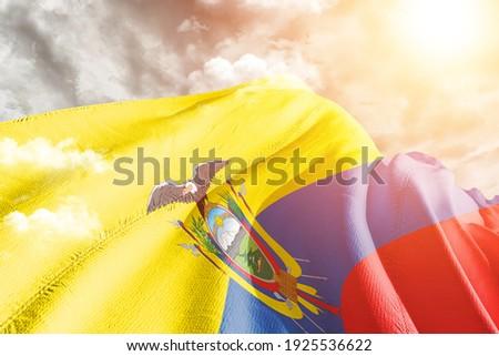 Ecuador national flag cloth fabric waving on beautiful grey sky. ストックフォト ©