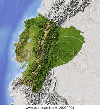 stock photo : Ecuador. Shaded relief map with major urban areas. Surrounding