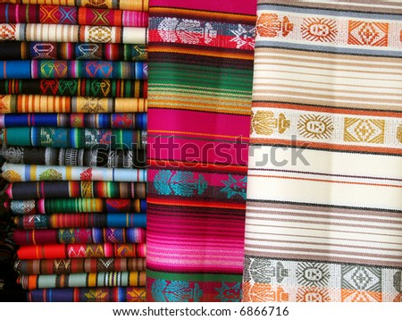 Ecuadorian Blankets for sale at the market in Otavalo