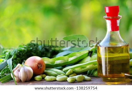 Edamame soy beans, oliveoil and ingredients