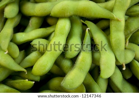 edamame, soybeans boiled in salted water