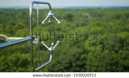 Eddy covariance systems consist sonic anemometer scientific tower station research gas analyzer wind carbon dioxide gas fluctuations. Floodplain forests meteorological weather meteorology measurements Foto stock ©