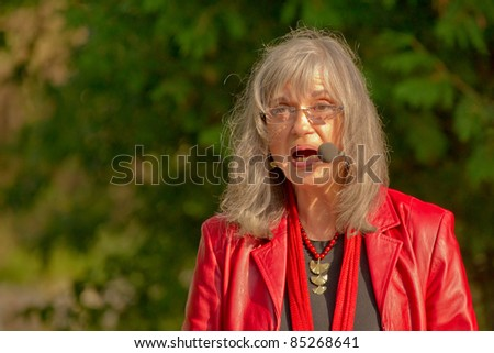 EDEN MILLS, ON - SEPTEMBER 18: Internationally celebrated folksinger and Canadian Diva, Sylvia Tyson, reads from her novel at the annual Writers Festival in Eden Mills, Ontario on September 18, 2011.