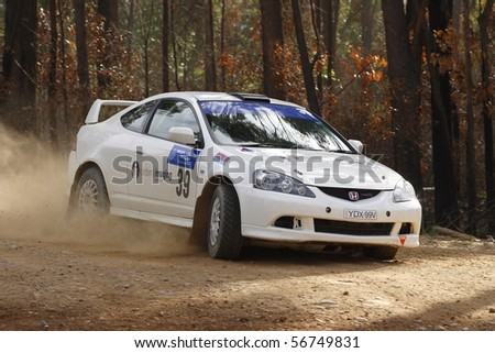 EDEN, NSW - JUNE 13: Meng Chung/ Nick Vardos at the Bega Valley Rally, round 2 of the victorian rally championships, June 13, 2010 in Eden, NSW, Australia - stock photo