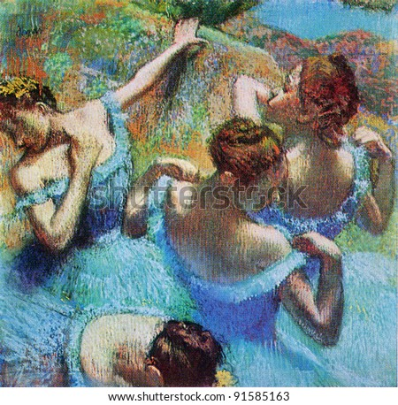 Edgar Degas (1934 - 1917) Blue Dancers. C. 1897. Pushkin Museum of Fine Arts. Reproduction of old postcards, USSR, circa 1983