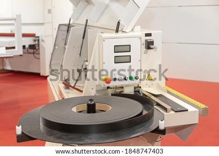 Edge Bander Machine Control in Wood Work Shop Zdjęcia stock ©