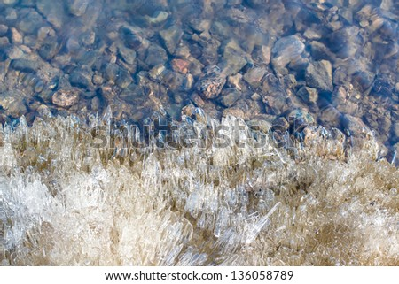 Edge of melting ice and clear water near the shore