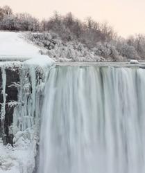 Edge of Niagara Falls in winter
