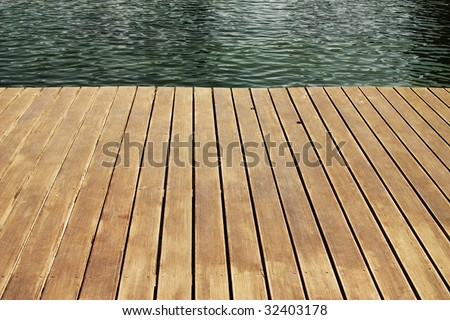 edge of wood deck near water