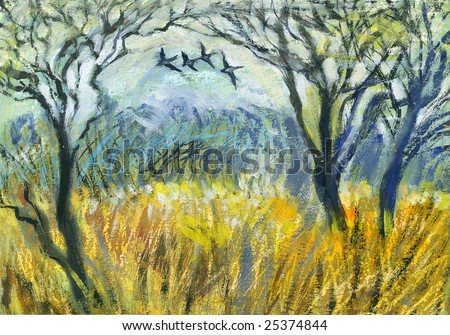 Edge of wood with flying birds and wheat field