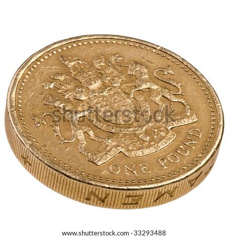 Edge view of one pound British decimal coin