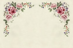 Edge with corners of embroidery roses with small flowers and leaves