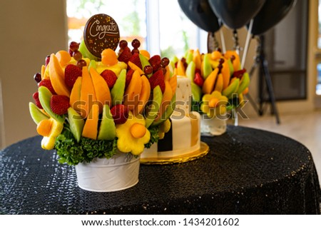 Edible Fruit basket arrangement with a variety of fruits #1434201602