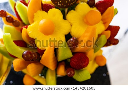 Edible Fruit basket arrangement with a variety of fruits #1434201605