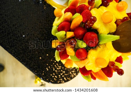 Edible Fruit basket arrangement with a variety of fruits #1434201608