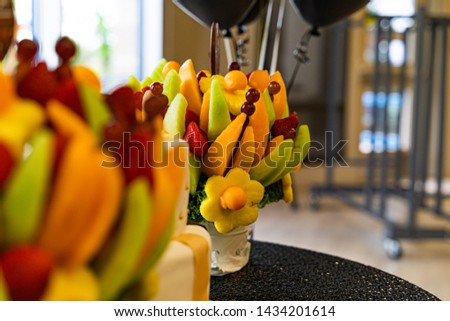 Edible Fruit basket arrangement with a variety of fruits #1434201614