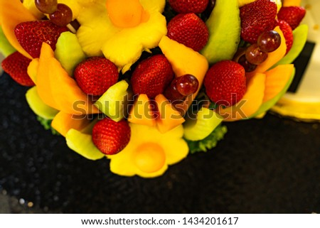 Edible Fruit basket arrangement with a variety of fruits #1434201617