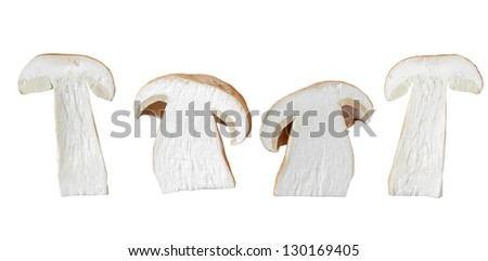 edible mushroom is cut and isolated on white background