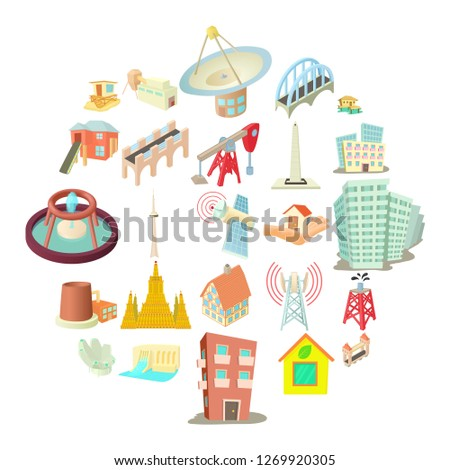 Edifice icons set. Cartoon set of 25 edifice icons for web isolated on white background