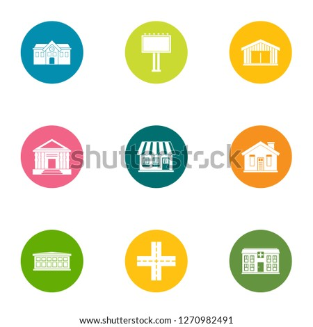 Edifice icons set. Flat set of 9 edifice icons for web isolated on white background