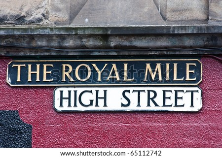 Edimburgh - Royal Mile plate, tipical landmark of the city