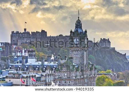 Edinburgh Castle and Balmoral Clock Tower at Dusk, Scotland
