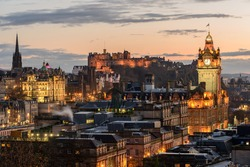 Edinburgh Castle and Princes Street at Sunset.