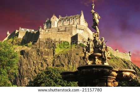 Edinburgh Castle at sunset
