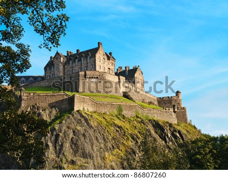 Edinburgh castle over clear blue sky, Scotland, UK