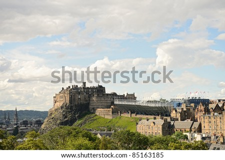 Edinburgh Castle, Scotland, from the south east.  The temporary grandstand for the military tattoo is visible on the esplanade.