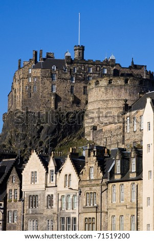Edinburgh Castle, Scotland, viewed from the Grassmark on a bright summer day.