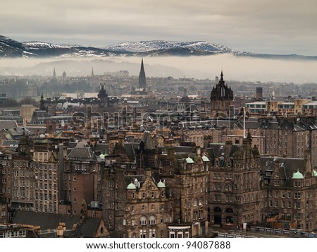 Edinburgh city view as seen from Nelson monument